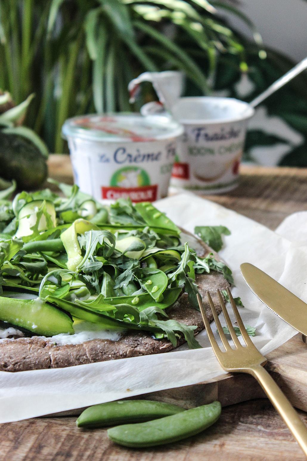 recette recipe easy facile pizza veggie vegétarienne légume verte healthy crème chavroux