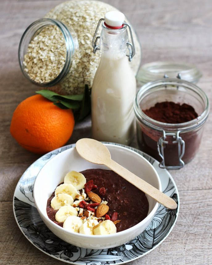 recette, recipe, porridge, flocons d'avoine, lait, vegan, rapide, chocolat