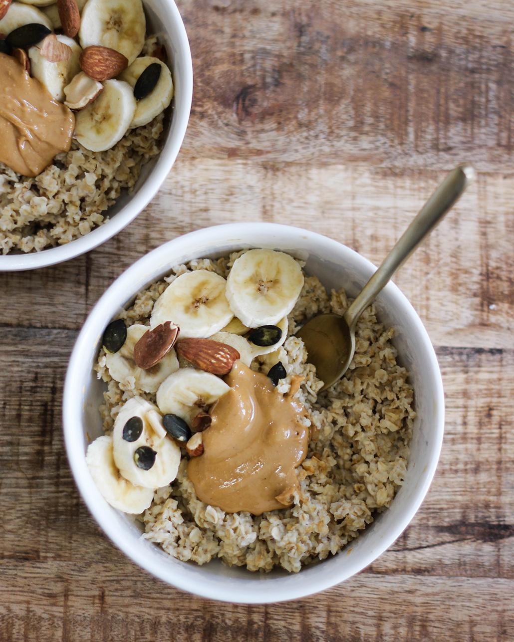 recette, recipe, porridge, flocons d'avoine, lait, vegan, rapide, peanut butter, banane