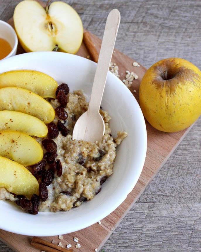 recette, recipe, porridge, flocons d'avoine, lait, vegan, rapide, pomme