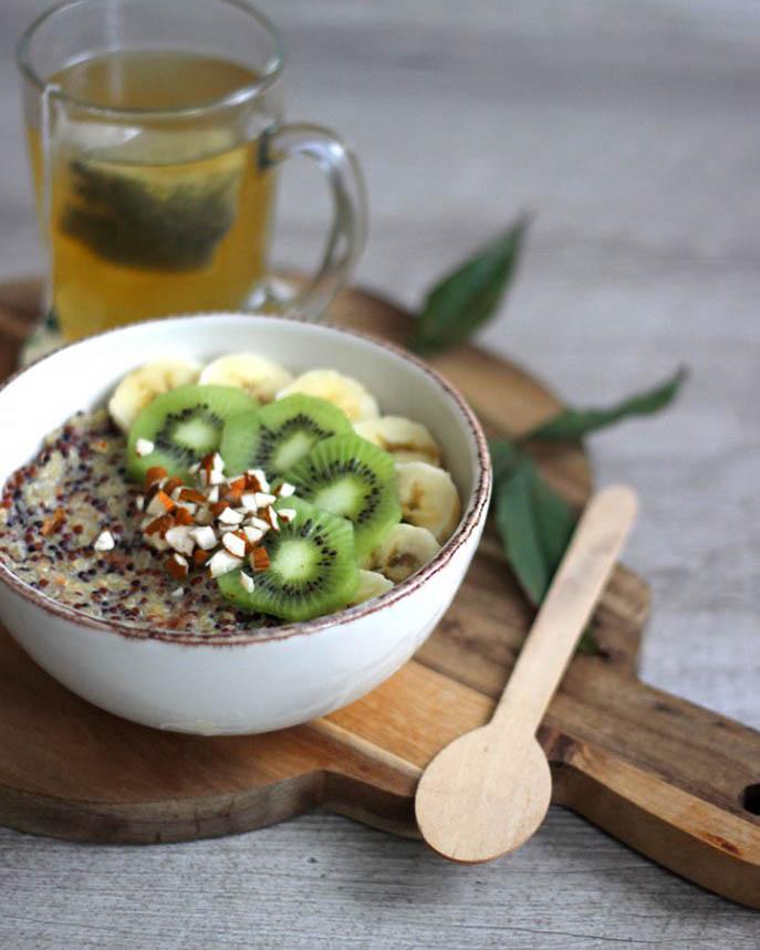 recette, recipe, porridge, flocons d'avoine, lait, vegan, rapide