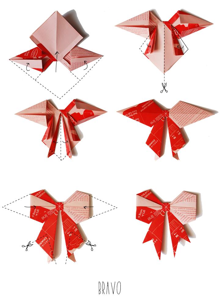 Petits noeuds en origami bonjour darling - Origami pour noel ...