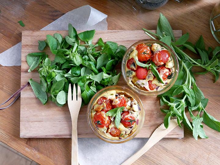 Clafoutis salés légers, tomates cerises et feta