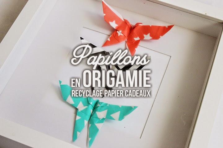 Recyclage de papier cadeau : DIY Papillons sous verre